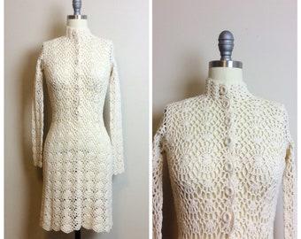 6d16ad990a3 1960s Vintage Cream Floral Crochet Dress   60s High Neck Bohemian Sheer Mini  Dress   Size Small - Medium