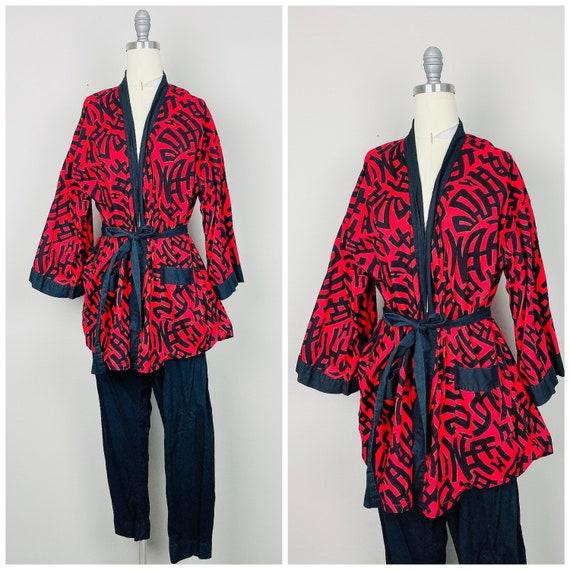 1960s Vintage Red and Black Pajama Set 60s Sixties
