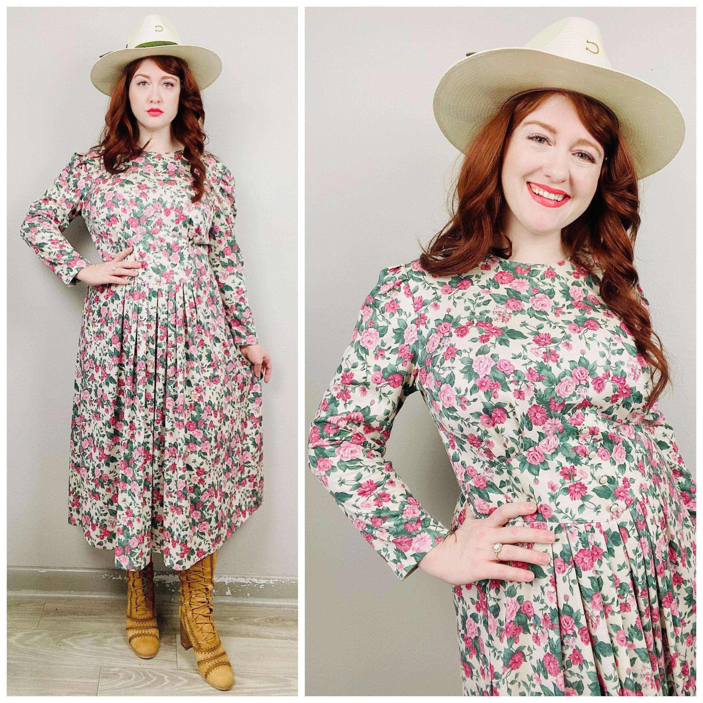 80s Dresses | Casual to Party Dresses 1980S Vintage Stuart Allen Cream  Pink Floral Dress80S Eighties Long Sleeve Fit Flare Garden Size Xl $26.50 AT vintagedancer.com