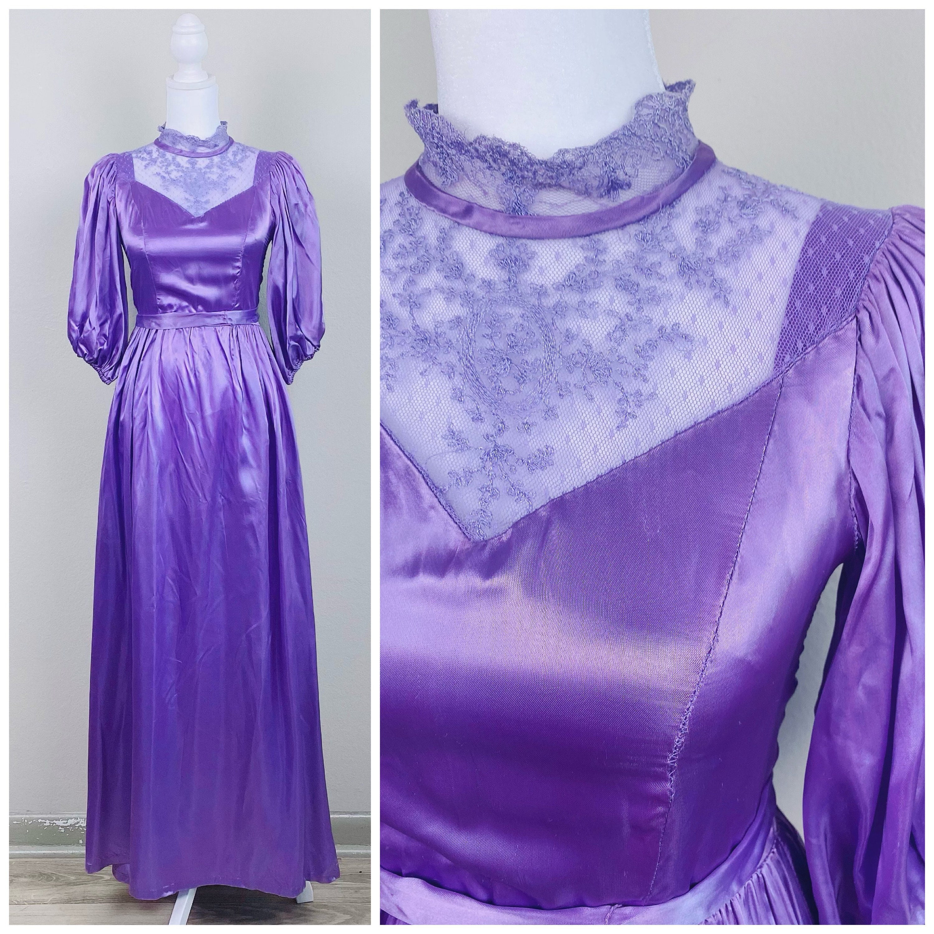 80s Dresses | Casual to Party Dresses 1980S Vintage Purple Liquid Satin Puffed Sleeve Gown80S Eighties Lace Collar High Neck Prairie Maxi Dress Size Extra Small $26.50 AT vintagedancer.com