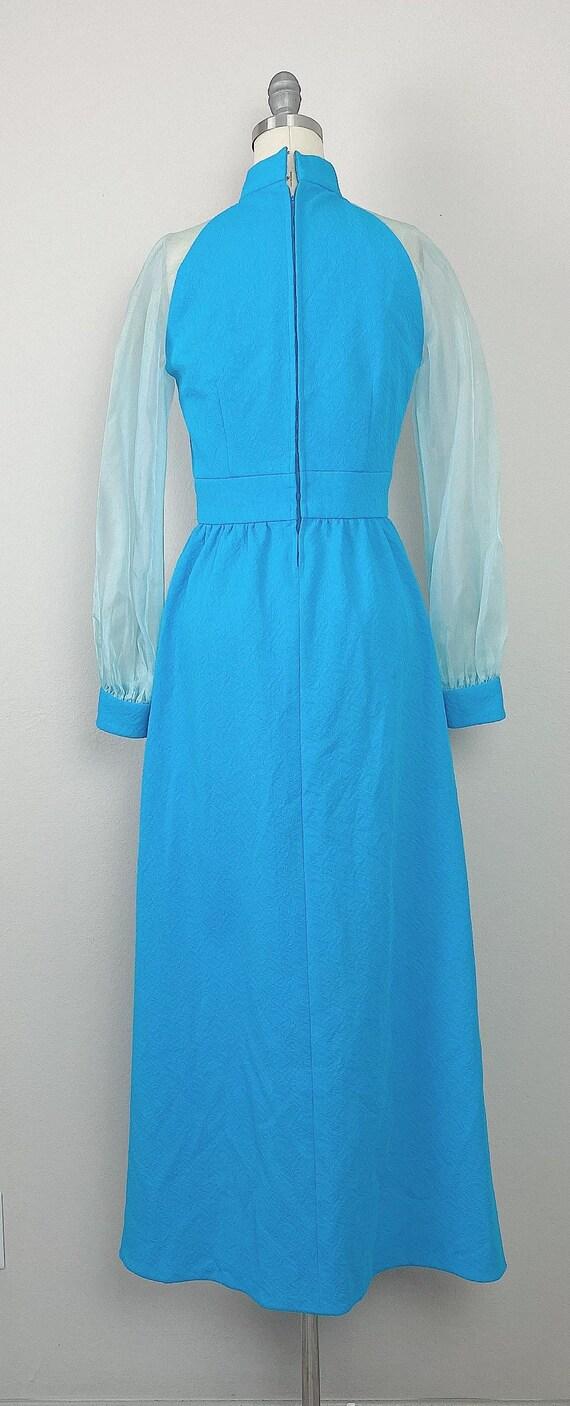 1970s Vintage Turquoise Genie Sheer Sleeve Dress … - image 4