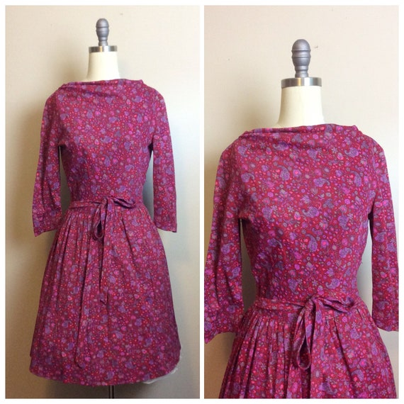 1960s Vintage Pink Poly Cotton Fit and Flare Dress