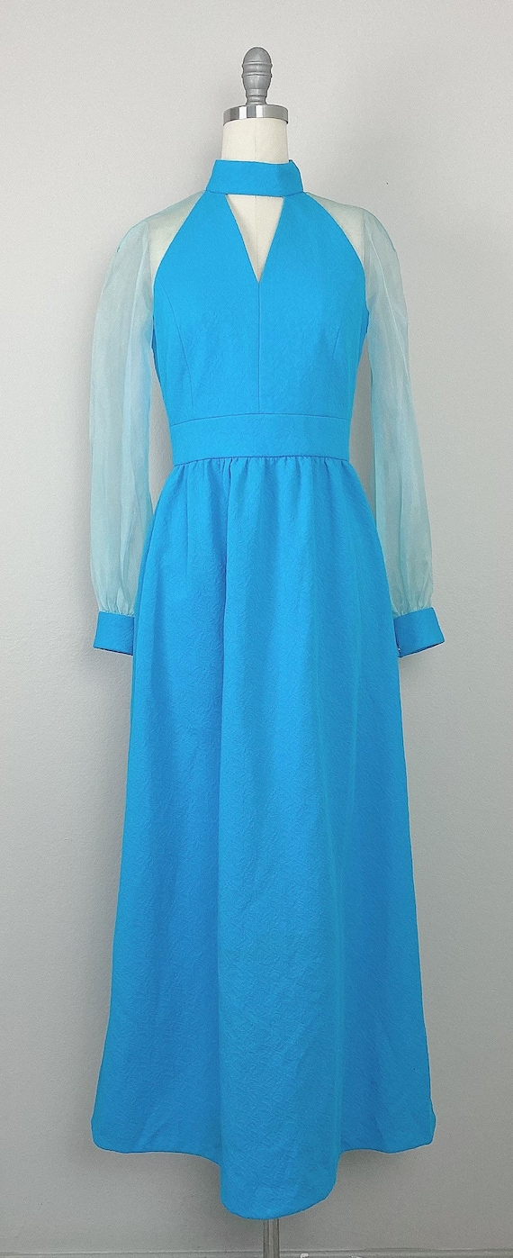 1970s Vintage Turquoise Genie Sheer Sleeve Dress … - image 2