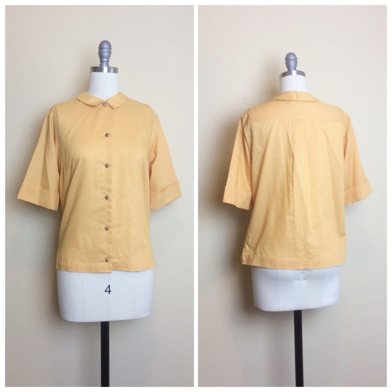 fd46efa33a004 50s Mustard Yellow Glenbrooke Penn Prest Blouse   1950s