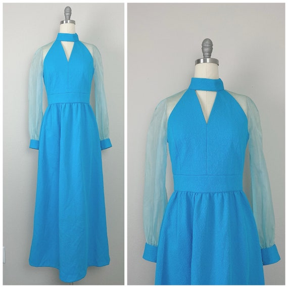 1970s Vintage Turquoise Genie Sheer Sleeve Dress /