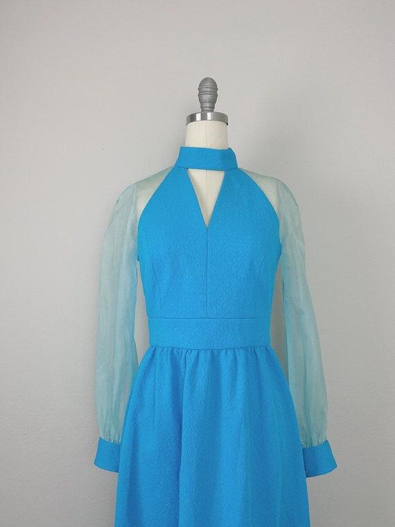 1970s Vintage Turquoise Genie Sheer Sleeve Dress … - image 6