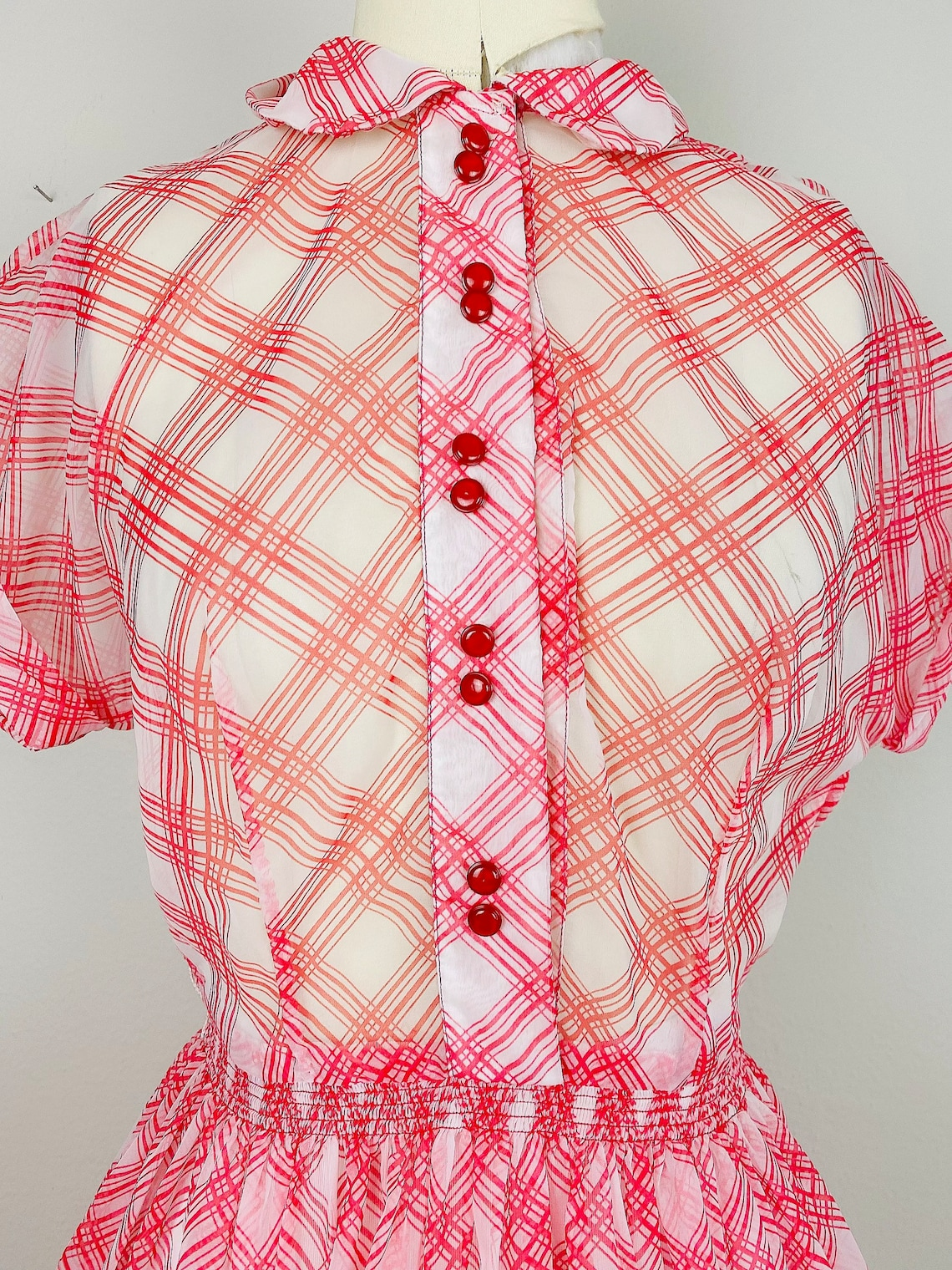 1950s Vintage Red and White Sheer Dress  / Fifties Plaid