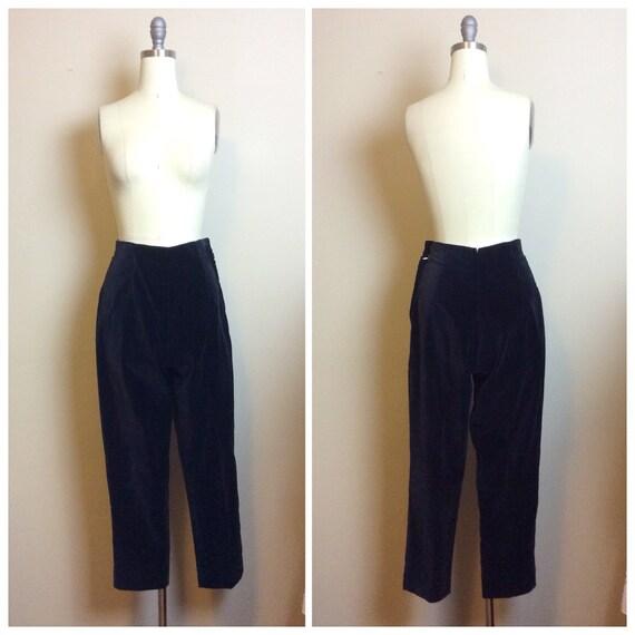 1950s Vintage High Waisted Black Velvet Pants / 50