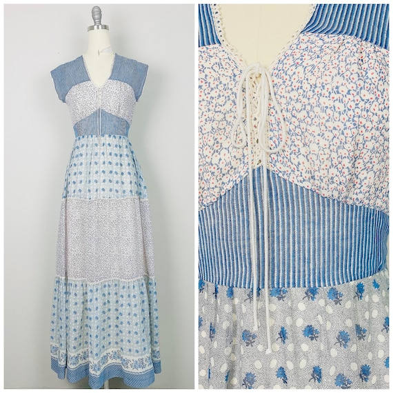 1970s Vintage Lord + Taylor Calico Patchwork Maxi
