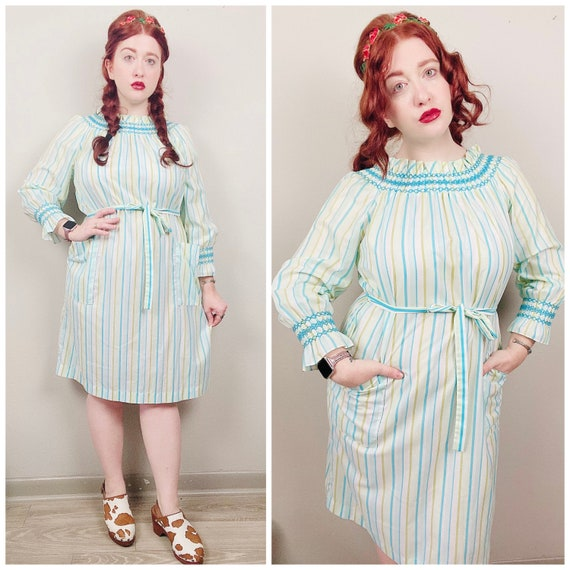 1970s Vintage Loungees Striped House Dress / 70s /