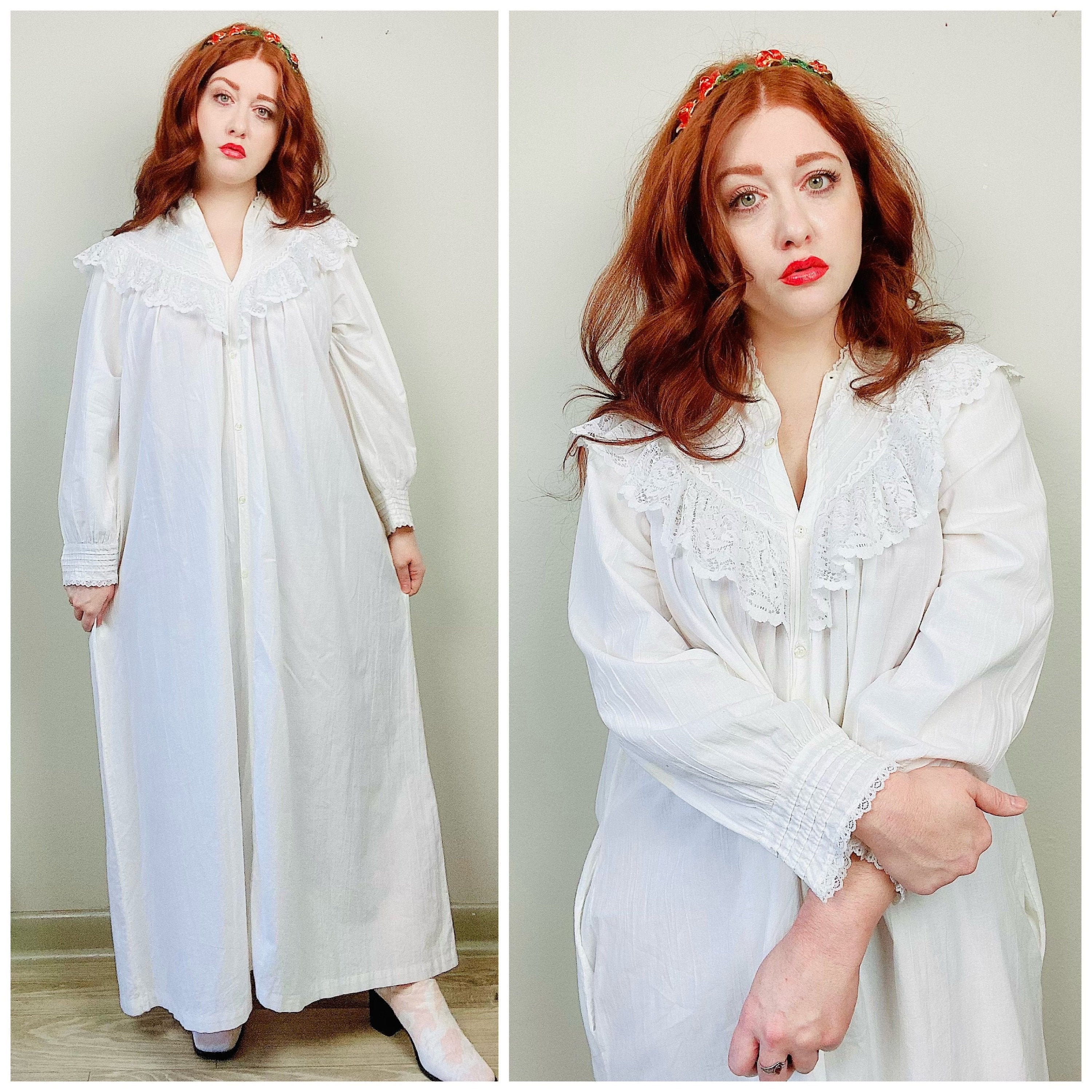 80s Dresses | Casual to Party Dresses 1980S Vintage White Cotton Diane Von Furstenberg Ruffled Gown80S Eighties Lace Trim Long Sleeve Button Front Dress Size Large $26.50 AT vintagedancer.com