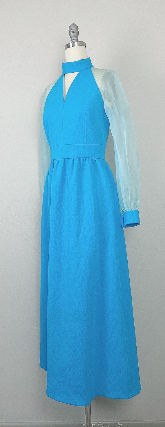 1970s Vintage Turquoise Genie Sheer Sleeve Dress … - image 3