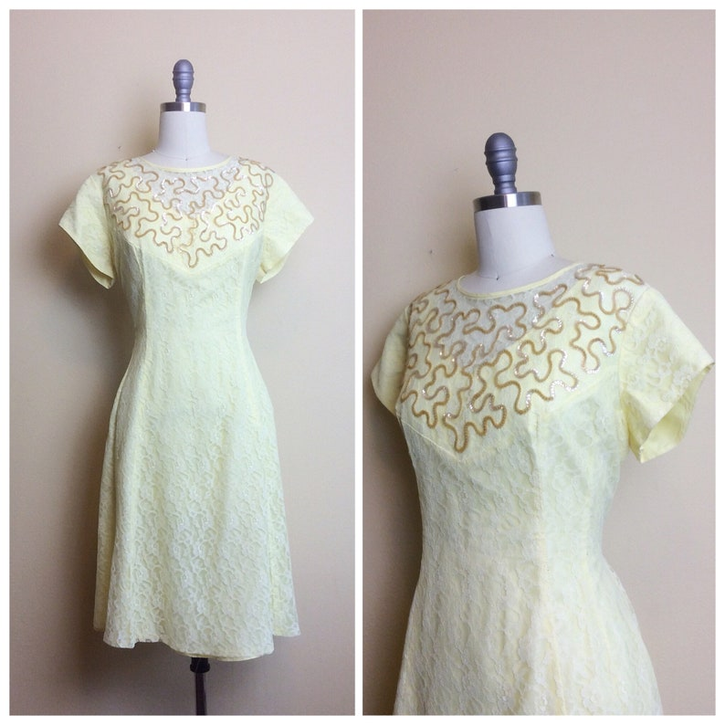 926e59196a9 60s Pastel Yellow Lace Volup Party Dress   1960s   Sixties