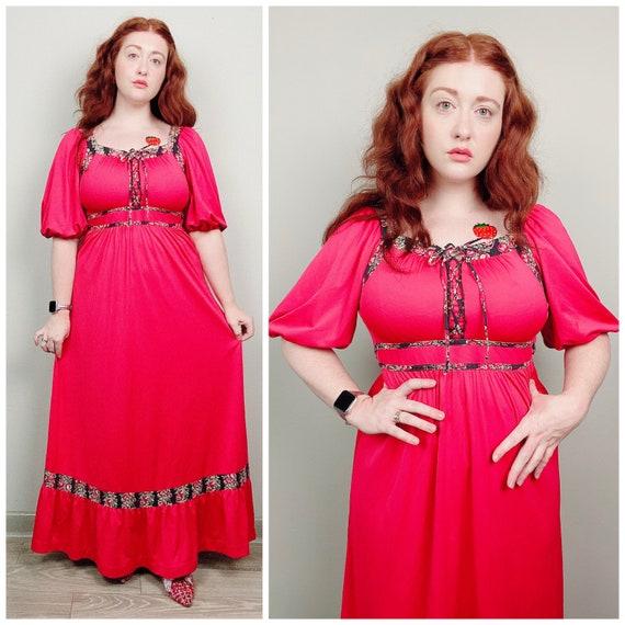 1970s Vintage Jody T Red Maxi Dress / 70s / Sevent