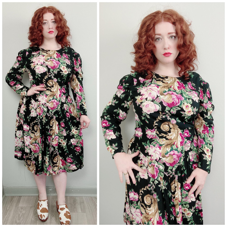 80s Dresses | Casual to Party Dresses 1980S Vintage Lady Carol Rayon Floral Drop Waist Dress80S Eighties Princess Cut Dark Flower Black Tea Size Large $68.00 AT vintagedancer.com
