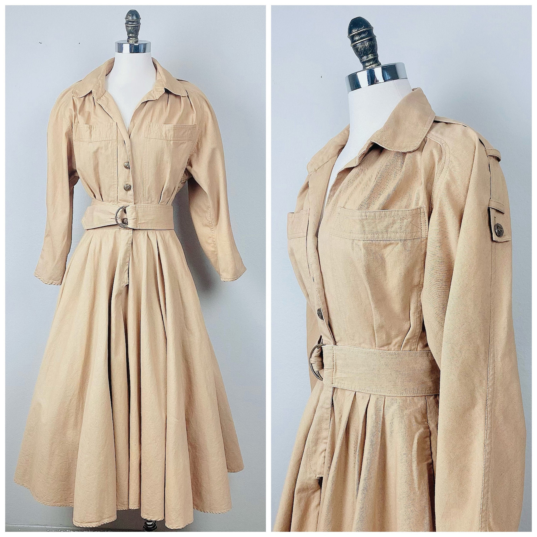 80s Dresses | Casual to Party Dresses 1980S Vintage Khaki Cotton Karen Alexander Shirt Dress80S Eighties Long Sleeve Epaulet Size Medium $26.50 AT vintagedancer.com