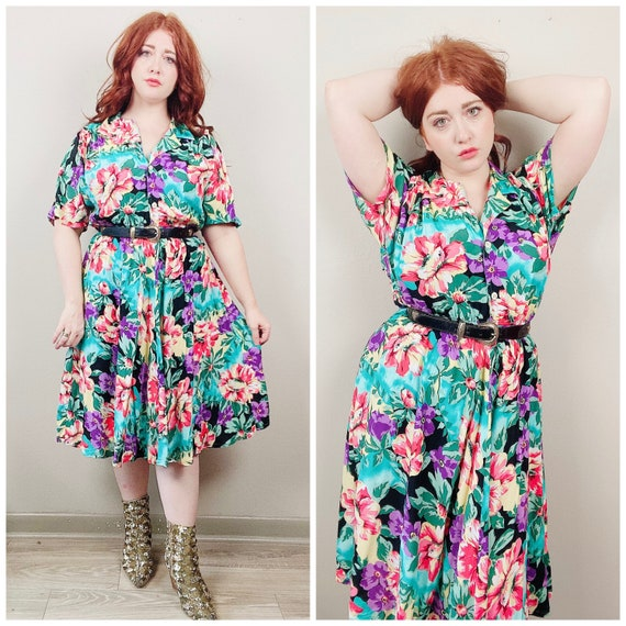 1980s Vintage Carol Anderson Tropical Floral Dress