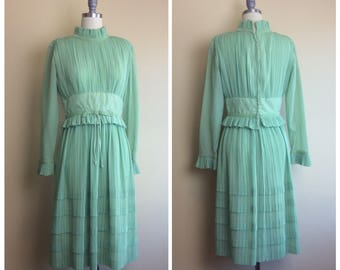 60s Mint Green Beautiful Pleated High Neck Party Dress / 1960s / Sixties / Vintage Ruffled Sheer Sleeve Fit and Flare Seafoam Dress / Small