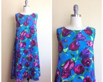 70s Electric Blue Silk Tulip Print Trapeze Dress / 1970s / Seventies / Vintage Pop Art Neon Novelty Print Swing Dress/ Large