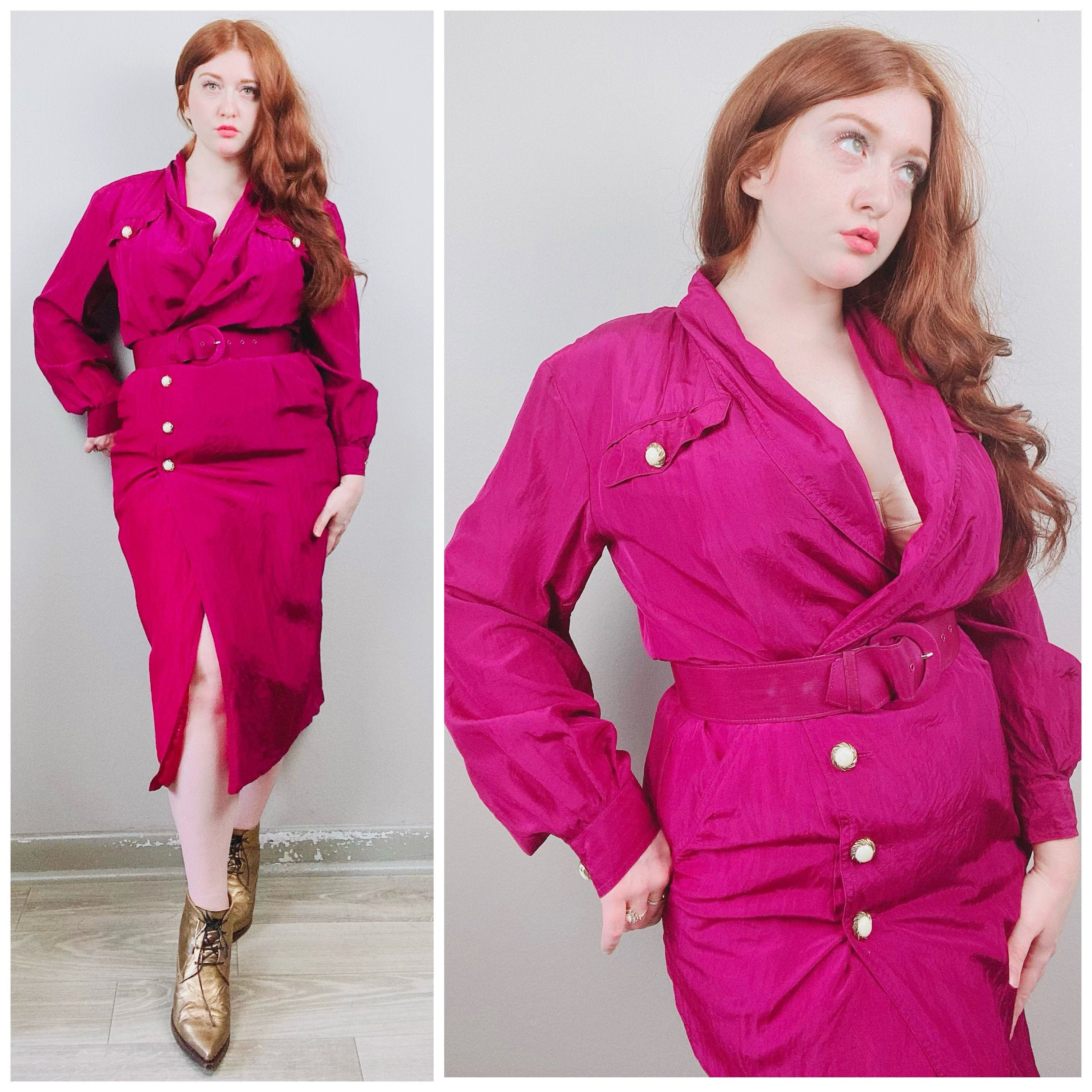 80s Dresses | Casual to Party Dresses 1980S Vintage David Benjamin Silk Purple Wiggle Dress80S Eighties Wrap Long Sleeve Size Large Xl $26.50 AT vintagedancer.com