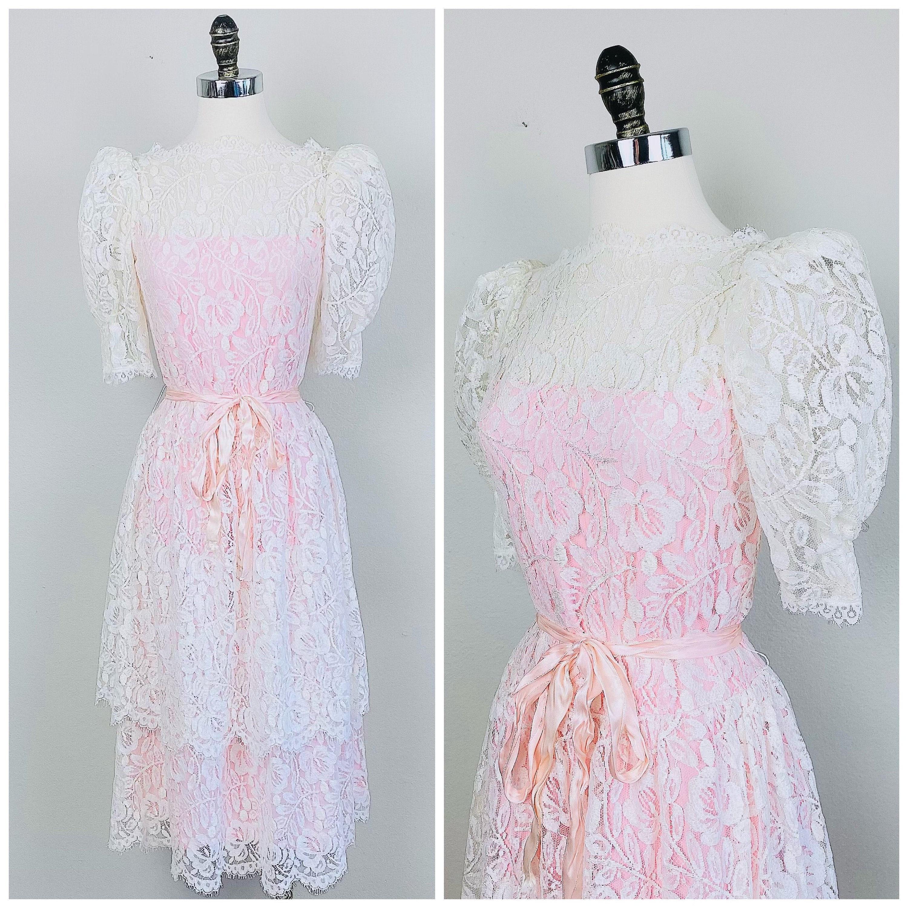 80s Dresses | Casual to Party Dresses 1980S Vintage Cream  Lace Pink Party Dress80S Eighties Puffed Sleeve Tiered Skirt Size Small Medium $26.50 AT vintagedancer.com