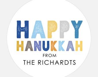 Happy Hanukkah stickers, Personalized Gift stickers, Holiday Stickers, Hanukkah gift, Modern, Large, Colorful Type