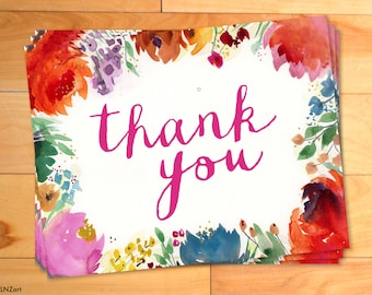 Thank You Notes, Garden Floral, Watercolor Thank You Cards, Shabby Chic, Typography,  Bohemian, Script, Calligraphy
