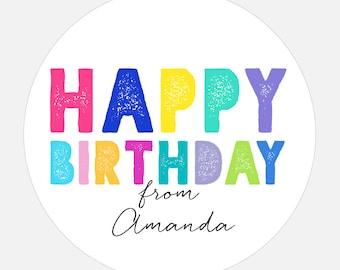Personalized Happy Birthday stickers, Happy Birthday Gift Stickers, Rainbow stickers, gift tags, colorful, girl, boy