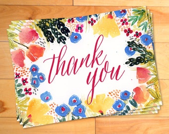 Garden Floral Thank You Notes, Watercolor Thank You Cards, Shabby Chic,Typography, Bohemian,Script,Calligraphy