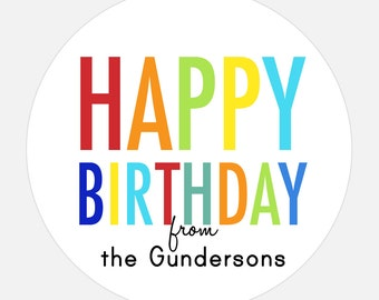 Personalized Happy Birthday stickers, Rainbow stickers, gift tags, girl, boy, 3 inch stickers