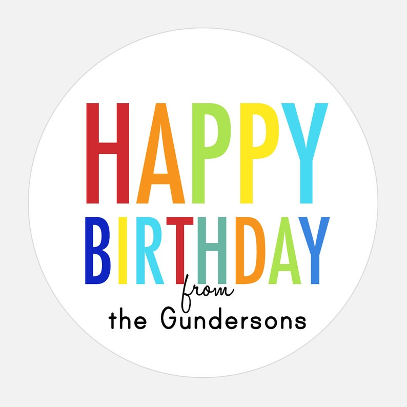 Personalized Happy Birthday Stickers Rainbow Gift