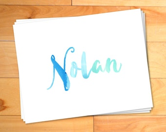 45 Boys Notecards, Watercolor Notes, Kids Thank you Cards, Script, Typography, Custom Childrens Thank You Notes Personalized Notecards