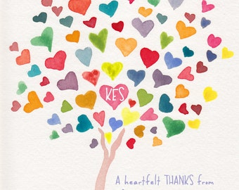Custom Colorful Rainbow HeartTree Thank you Notes - Personalized Notecards - Set of 26