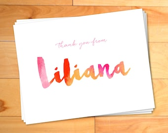 Thank You Cards, Personalized Thank You, Watercolor Thank you Cards, Script Thank You, Kids Thank You Cards