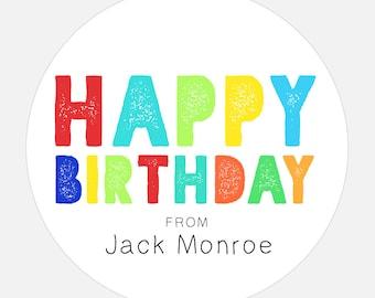 Happy Birthday Gift Stickers, Personalized Happy Birthday stickers, Rainbow stickers, gift tags, colorful, girl, boy