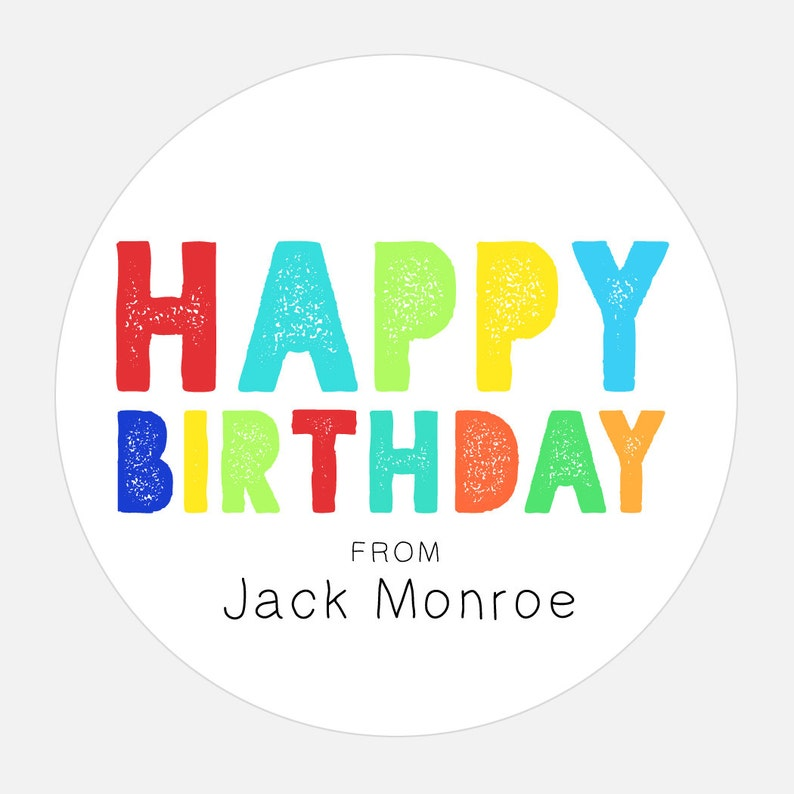 Happy Birthday Gift Stickers Personalized
