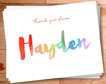 Rainbow Thank You Cards, Personalized Thank You, Watercolor Thank you Cards, Script Thank You, Kids Thank You Cards