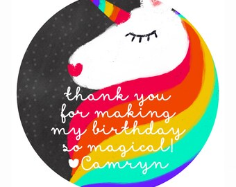 Birthday Thank You stickers, Unicorn Party Stickers, Rainbow Birthday Gift Stickers, Girl Birthday Party Stickers, Gift Tags
