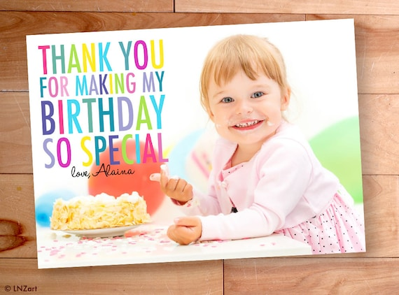 Kids Birthday Thank You Thank You Photo Cards Kids Thank Etsy