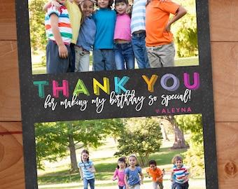 Thank You Photo Cards, Kids Birthday, Multiple Photos, Chalkboard, printable, Custom Photo Thank You Card, Birthday Thank You, Rainbow