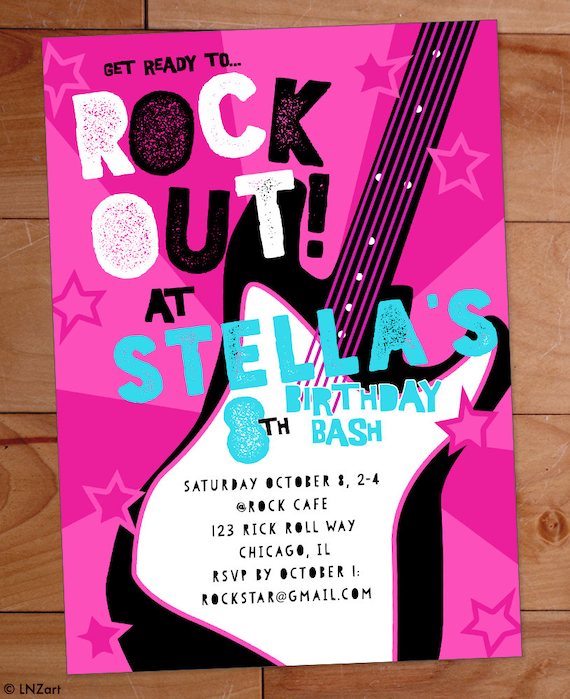 Rock Star Birthday Party Invitation Band Girly Guitar