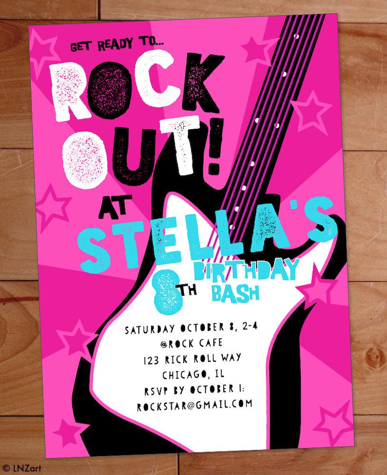 Invitacion Fiesta De Cumpleanos Estrellas De Rock Banda De Etsy