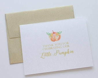 baby shower thank you cards pumpkin thank you little pumpkin shower theme fall thank you personzlied card gender neutral shower