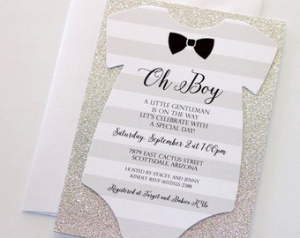 Boy baby shower themes etsy baby shower onesie invitation glitter shower invitation baby boy invitation bow tie invitation little man shower gentleman theme filmwisefo