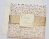 Laser Cut Wedding Invitation | Elegant Wedding Invite | Lace Wedding Invitation | Blush Pink & Gold Glitter | Flourish | GOLDIE
