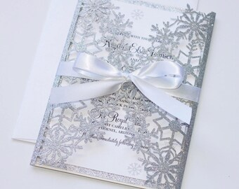 snowflake invitation etsy