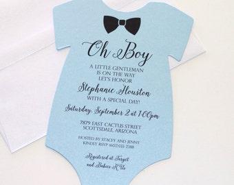 Onesie invitation etsy baby shower onesie invitation blue shower invitation baby boy invitation bow tie invitation little man shower gentleman theme filmwisefo