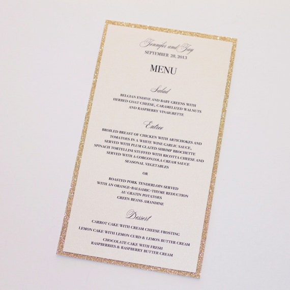 Jennifer Glitter Menu Cards Wedding Menus Elegant Menu Etsy