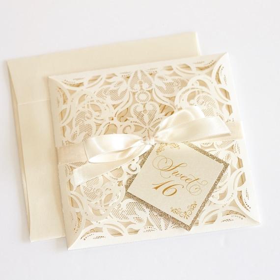 Sweet 16 Invitations Laser Cut Glitter Invitation Couture Etsy