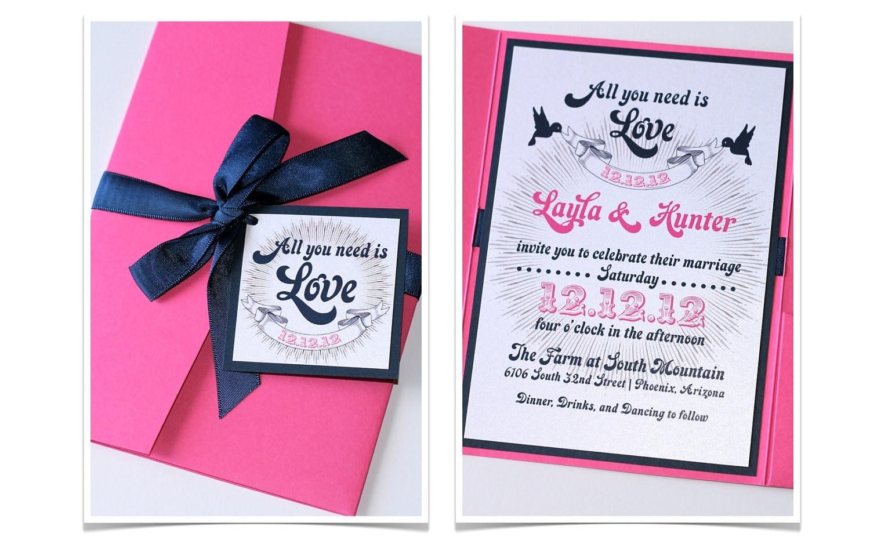 Layla Pocket fold Wedding Invitation Sample Hot Pink Navy   Etsy